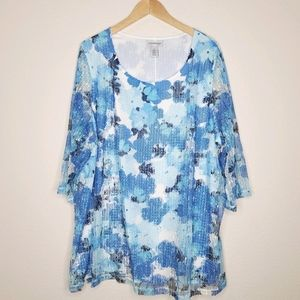 New Catherines Floral Top Blue Mesh Overlay